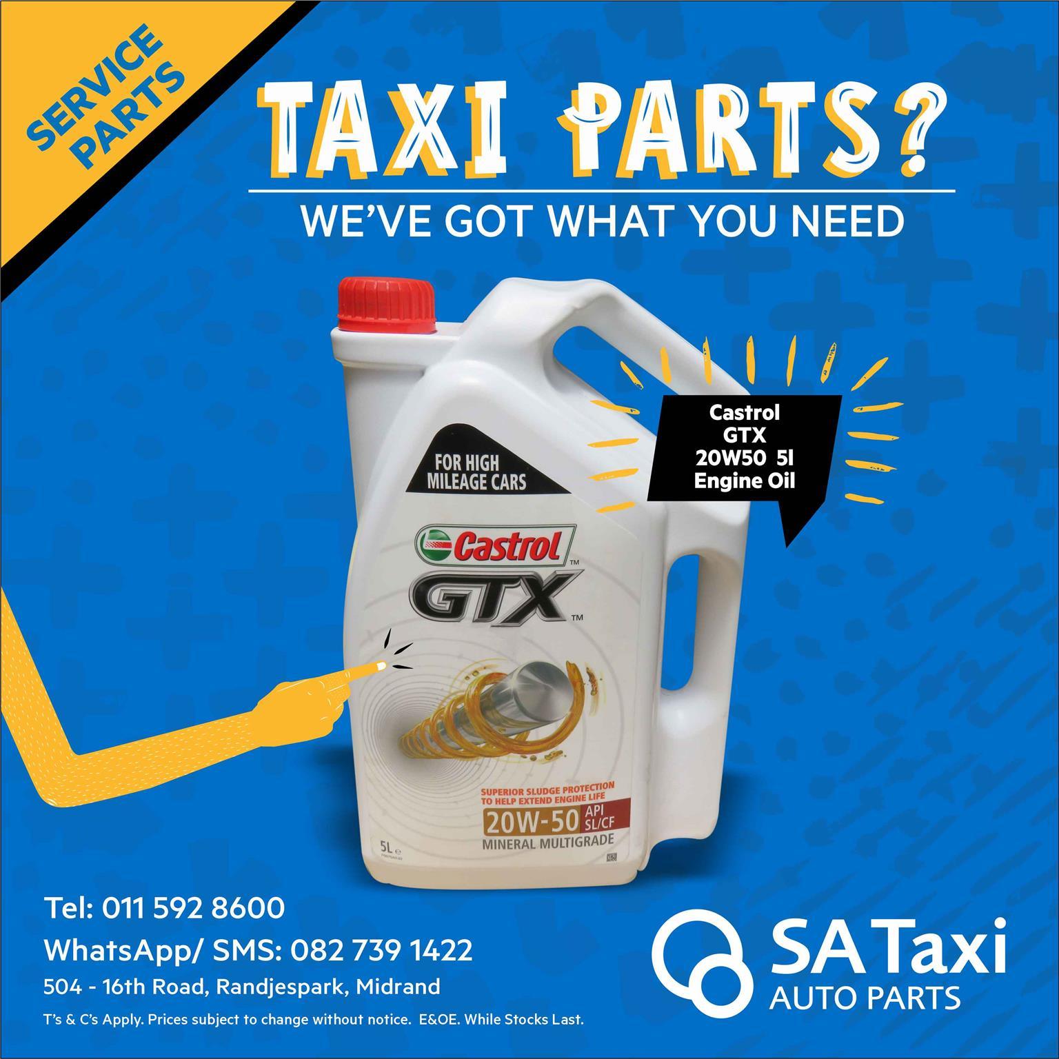 Castrol GTX 20W50 5l Engine Oil - SA Taxi Auto Parts quality service parts