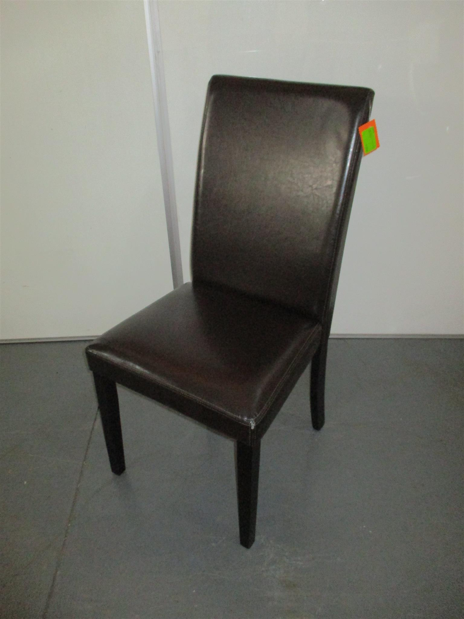 Leather dark brown visitor chair no arms