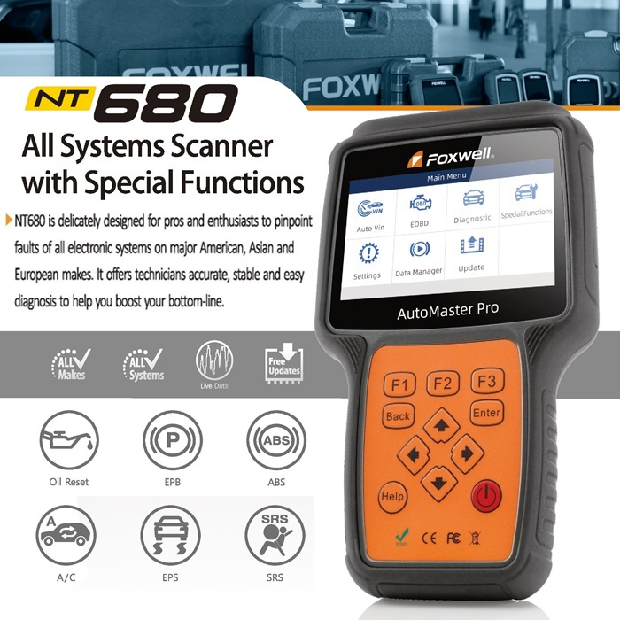 FOXWELL NT680 All Systems Diagnostic Scanner with Special Functions