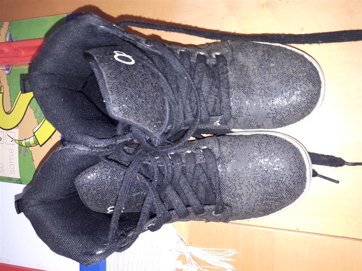Size 3 black glittery high top sneakers