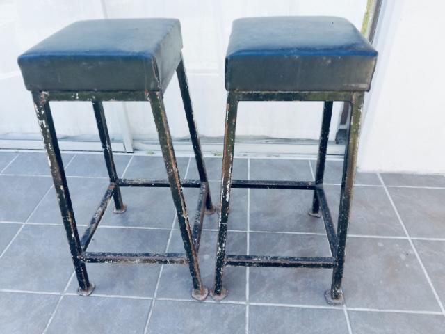 Bar stools x2 SOLID heavy metal leg frame