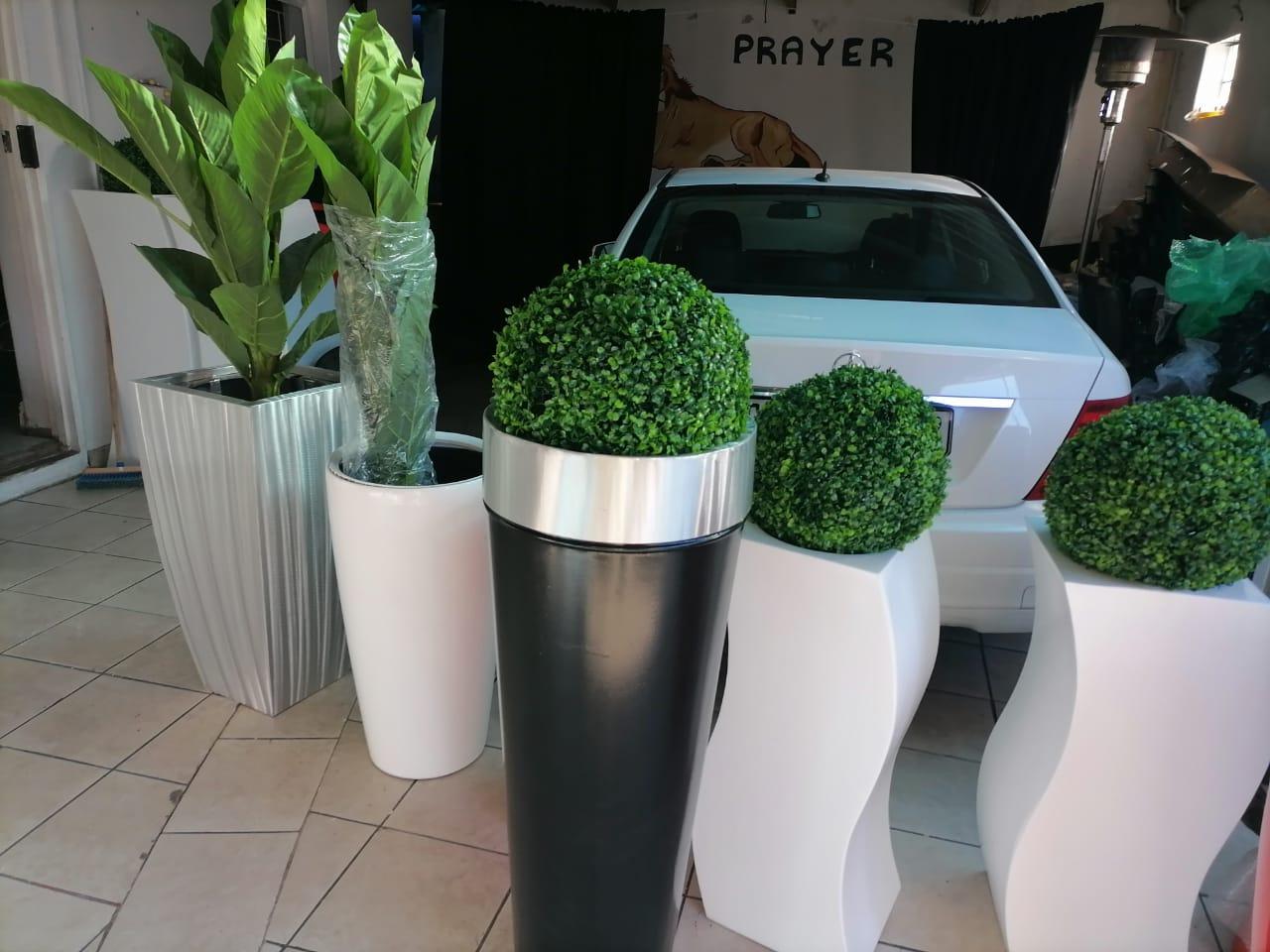 Pots and artificial plants