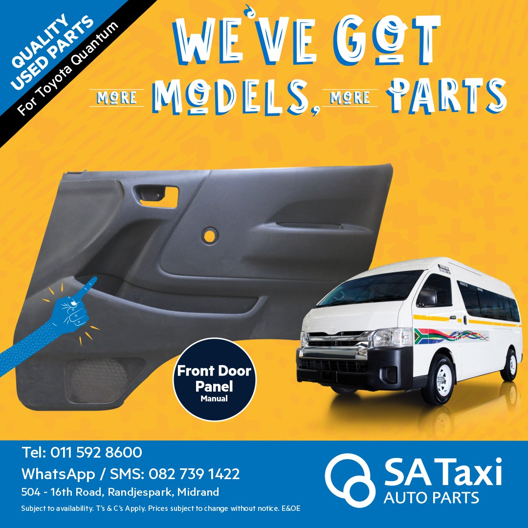 Front Door Panel suitable for Toyota Quantum - SA Taxi Auto Parts quality USED spares