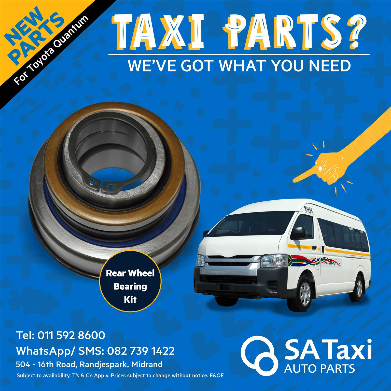 Rear Wheel Bearing Kit suitable for Toyota Quantum - SA Taxi Auto Parts quality new spares