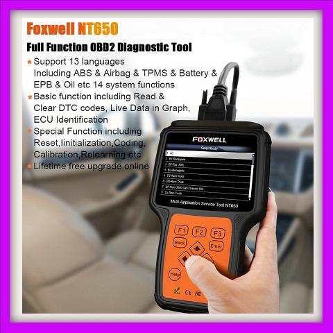 Car Scanner Foxwell NT650 OBD2 Car Diagnostic Tool ABS Airbag SAS EPB DPF TPMS Oil Reset Injector Coding ODB2 Auto Scanner OBD 2 Automotive Scanner
