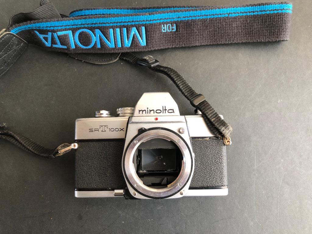 Classic Minolta SRT100X Old school FILM SLR camera with 3 lenses, flash and came