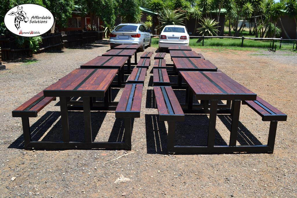 Steel frame patio / garden table with bench seating