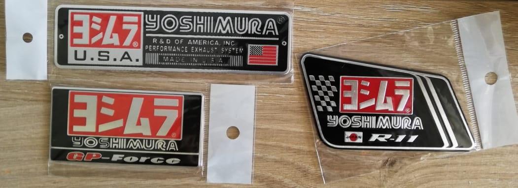 Motorcycle exhaust aluminium plate decals / metal stickers / badges