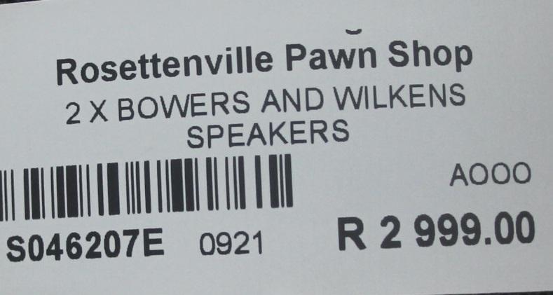 2X Bowers and Wilkens speakers S046207E #Rosettenvillepawnshop