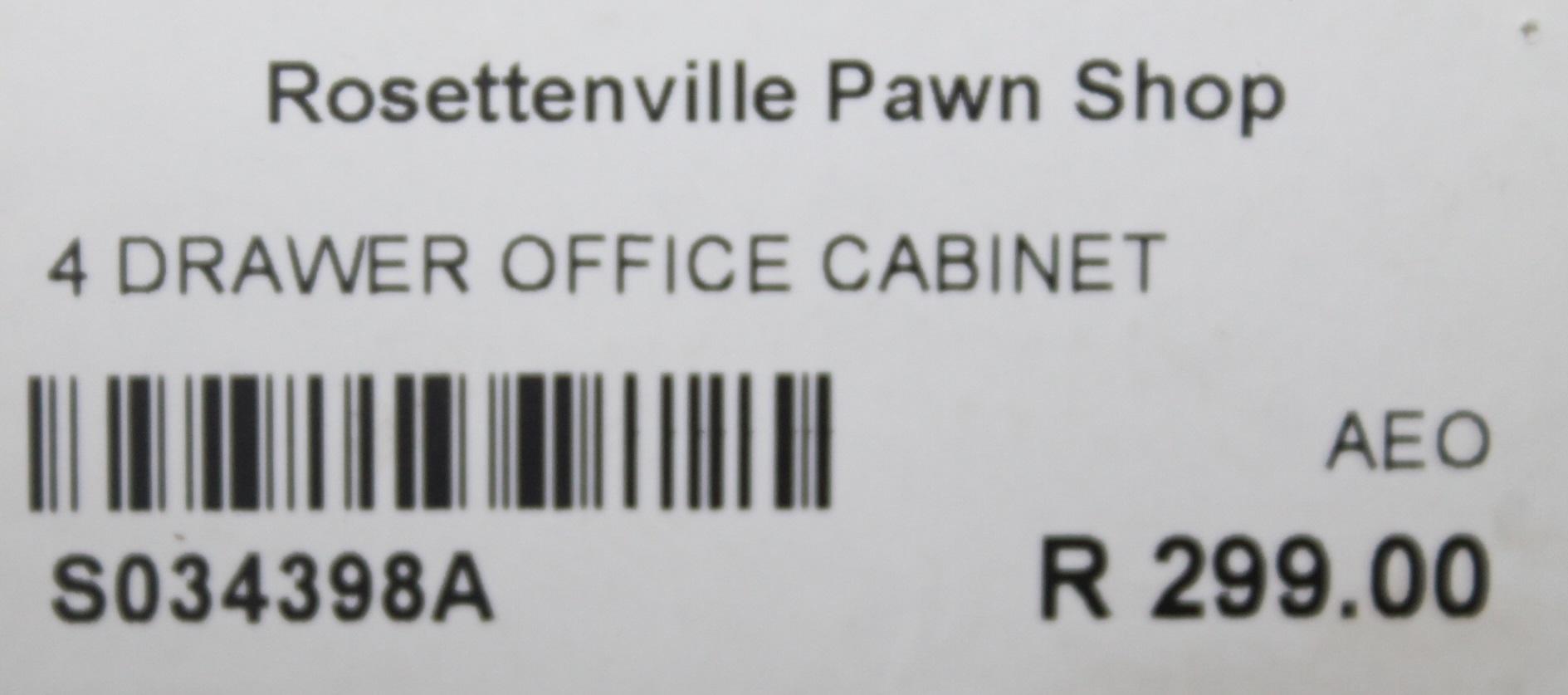 S034398A 4 Drawer office cabinet #Rosettenvillepawnshop