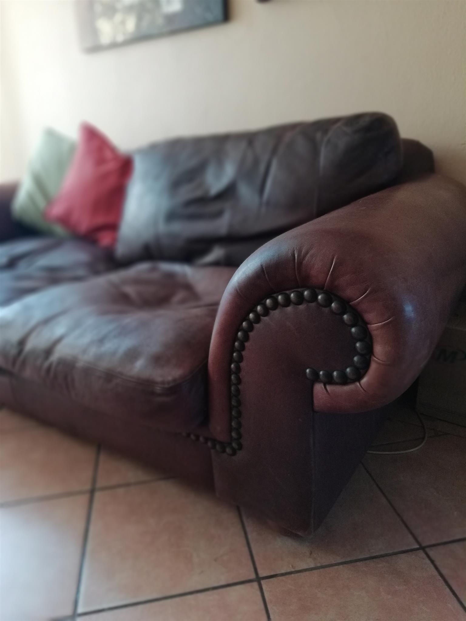 Corricraft leather 3 seater