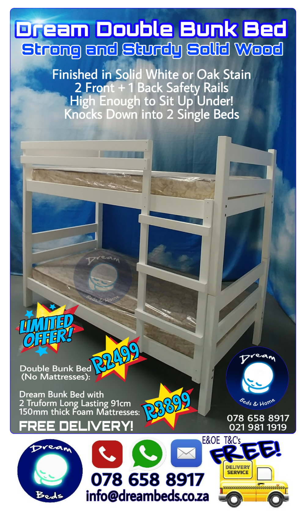 Free Delivery New Double Bunk Beds Beautifully Finished In Oak