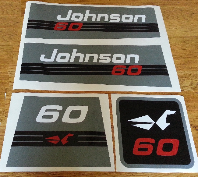 1992 Johnson 60 outboard motor cowl decals stickers graphics kit