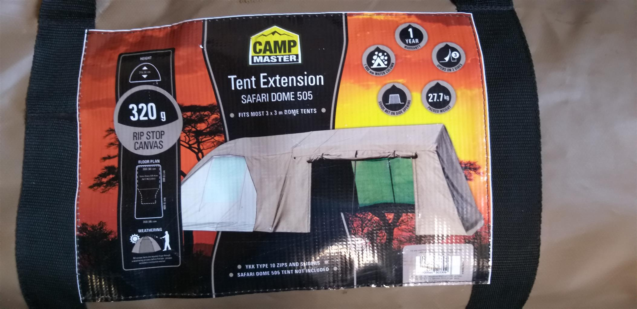 Canvas dome tent with extension