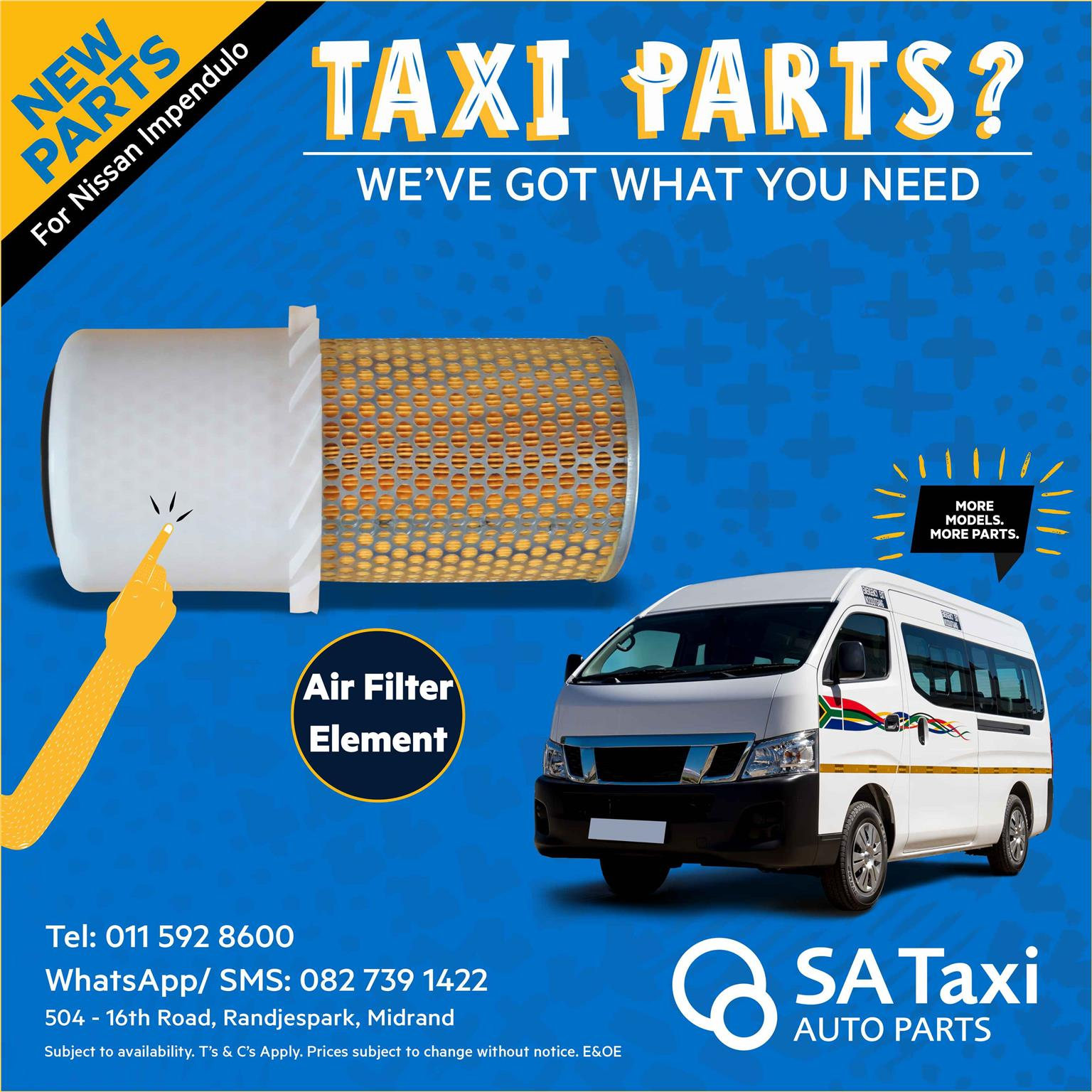NEW Air Filter Element suitable for Nissan NV350 Impendulo -  SA Taxi Auto Parts quality taxi spares