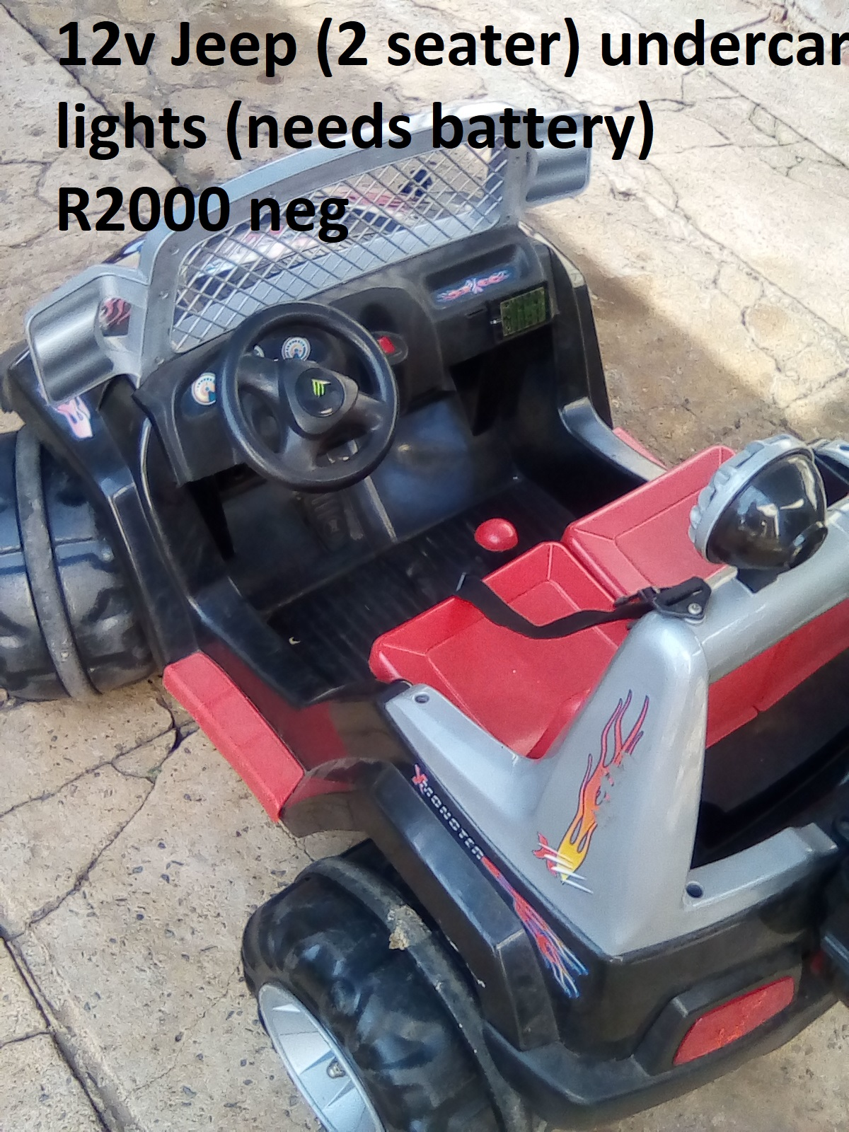 12v Jeep 2 seater (undercar lights) (needs battery)