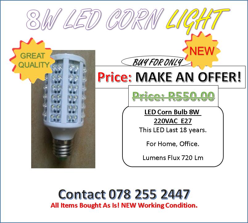 MAKE AN OFFER! 10 LEFT.... LED Corn Bulb 8W 220VAC. Great for Office, Home! MAKE AN OFFER!