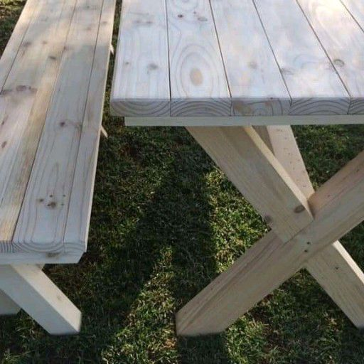 wooden benches and patio furniture