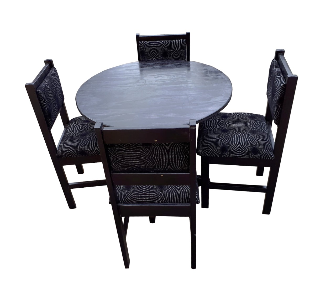 Black Wooden 4 Seater Dining Table Sets for
