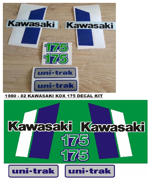 Stickers graphics decals set for a 1980 Kawasaki KDX 175 motorcycle
