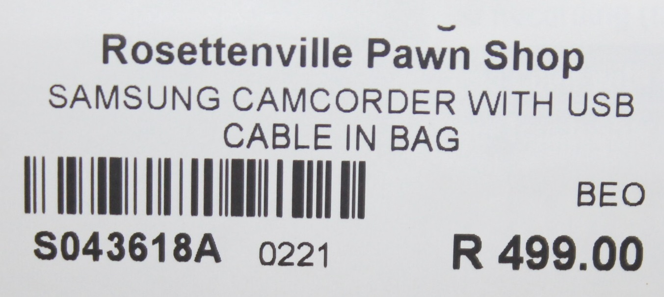 Samsung camcorder with usb cable in bag S043618A #Rosettenvillepawnshop