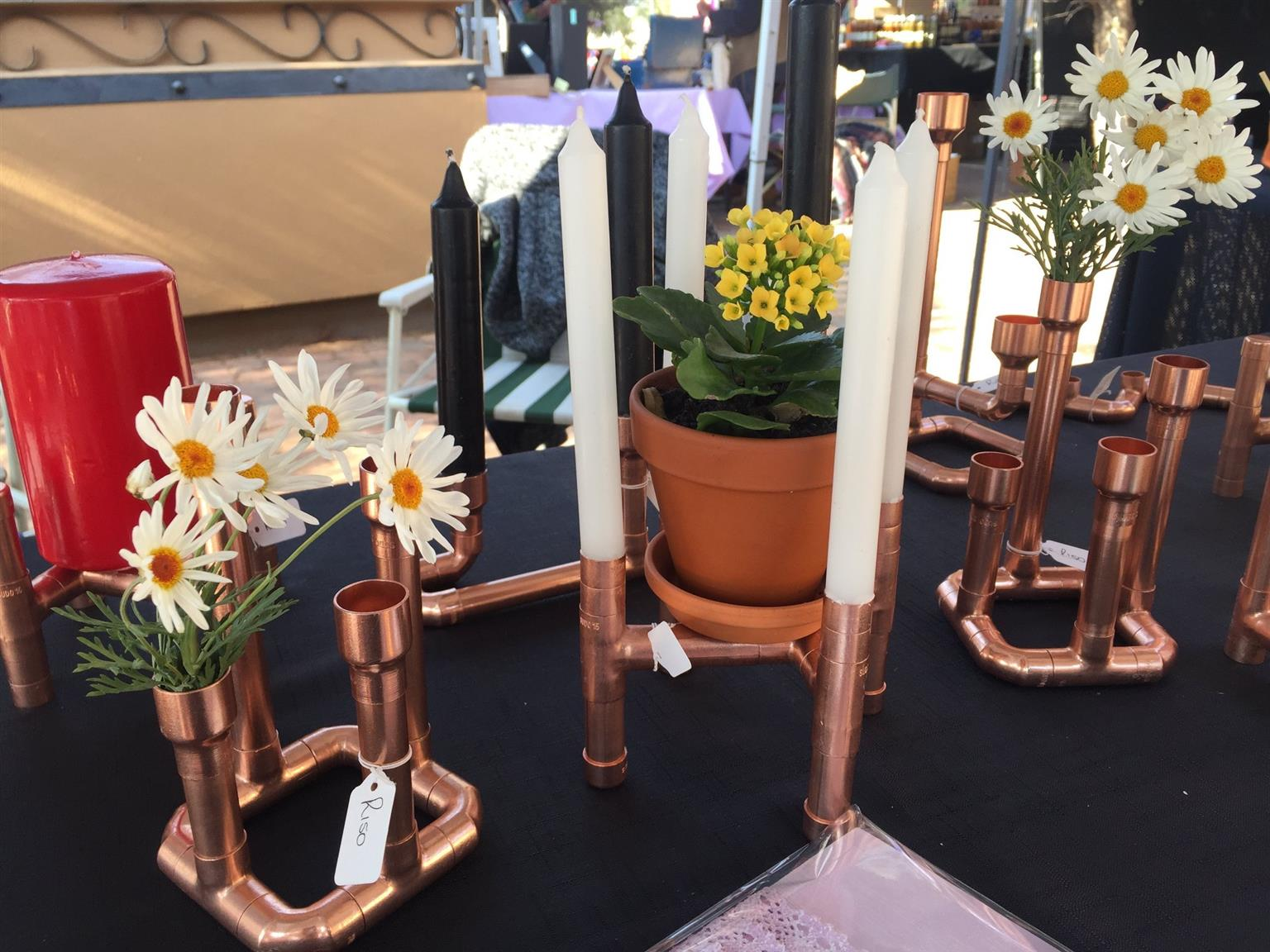 Homemade Copper Lamps and candle holders