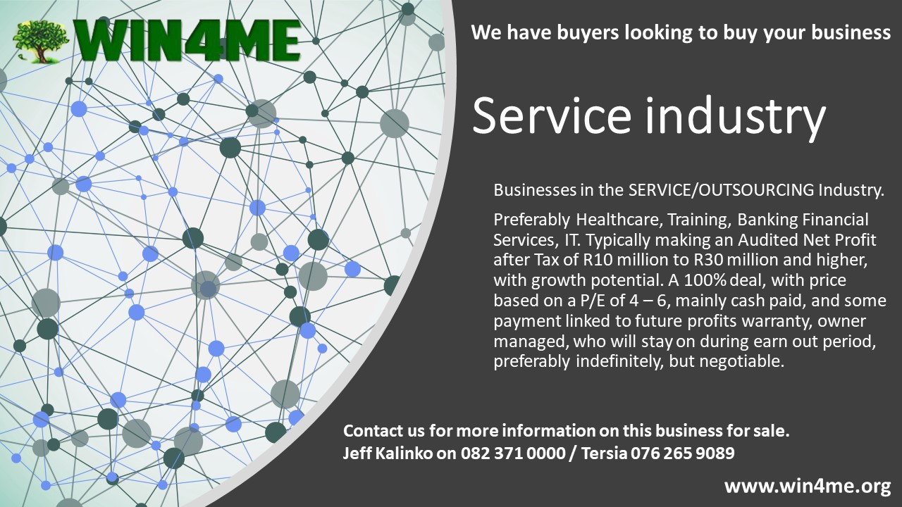 Service industry business for sale required