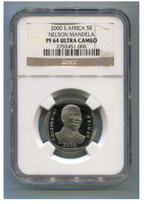 Nelson Mandela 2000 smilley face pf64 ultra cameo