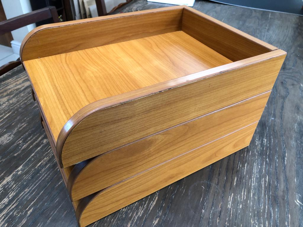 Stylish Wooden Desk In / Out trays_Desk caddy trays