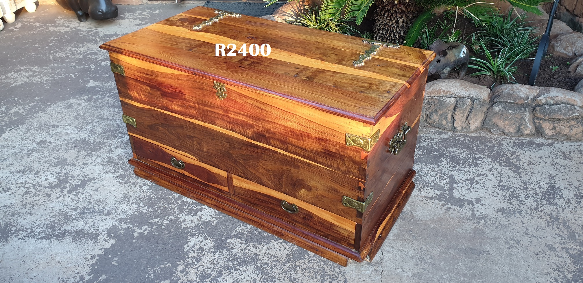 Classic Teak Trousseau Kist with 2 Drawers and Solid Brass Trimmings (1110x550x590)