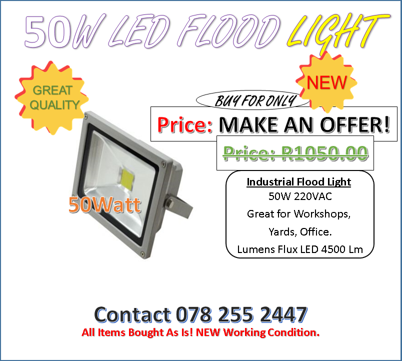 MAKE AN OFFER!   8 LEFT. LED Industrial Flood Light 50W, 220VAC Great for Workshops. Great Quality.