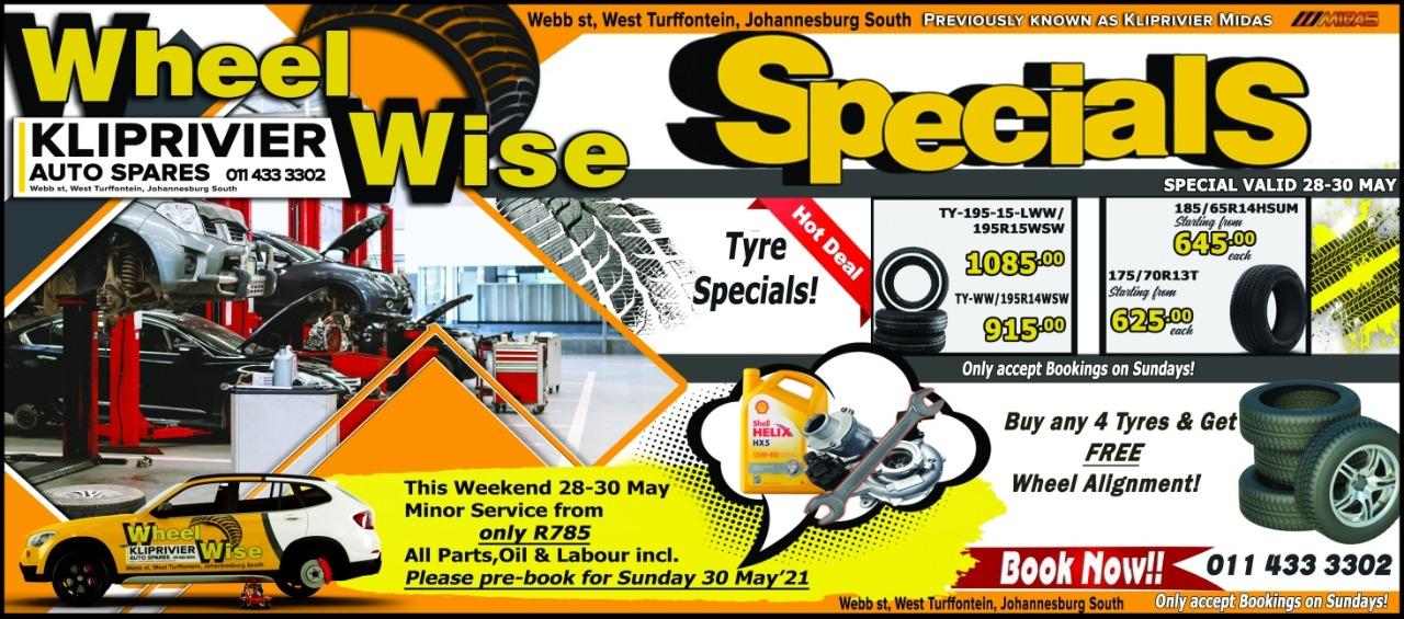 Weekend Specials at Wheel Wise Kliprivier!