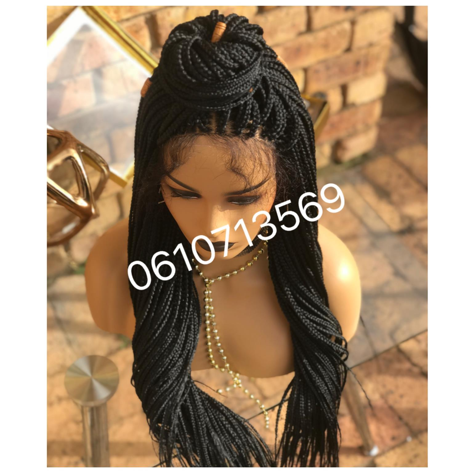 Glueless lace front braided wig with soft baby hair