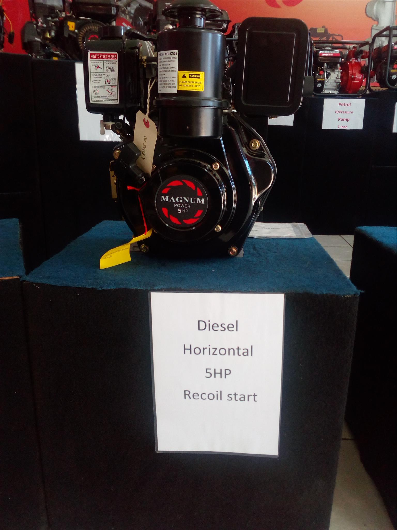 Magnum 173F/5 HP Diesel Engine with Recoil Start. Horizontal Shaft, Price Inclusive of Vat