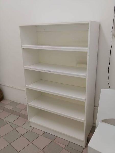5 Tier white office shelf