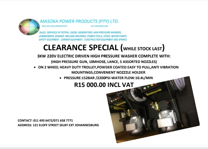 3KW 220V SINGLE PHASE ELECTRIC DRIVEN HIGH PRESSURE WASHER