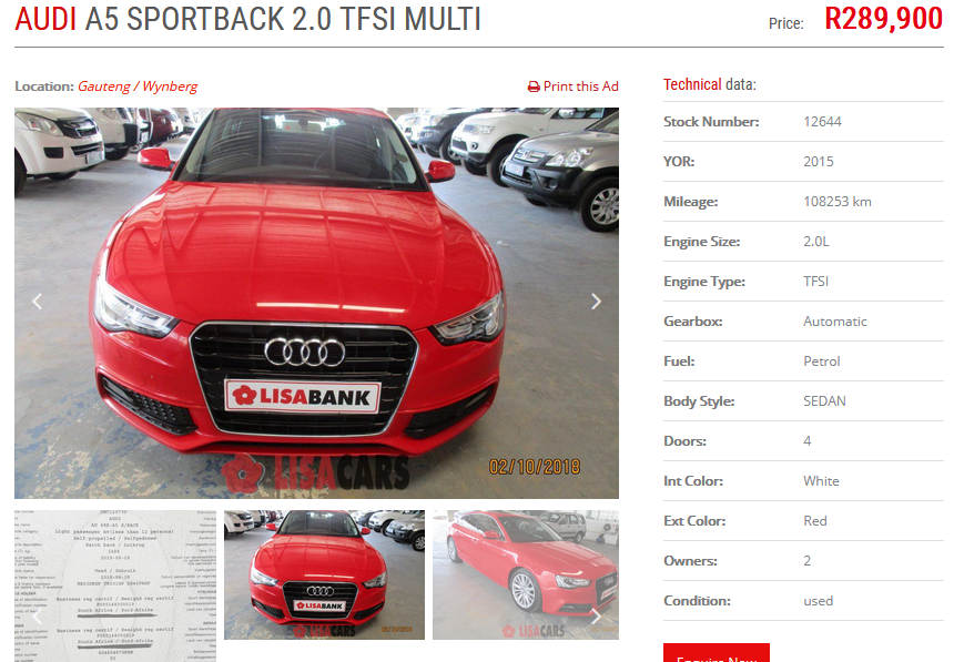 2015 Audi A5 Sportback 2.0TFSI quattro sport S line sports