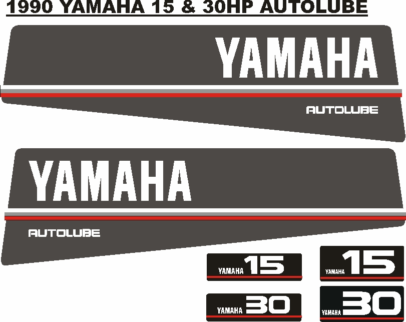 1990 Yamaha 15 Autolube outboard motor cowl stickers decals graphics kits