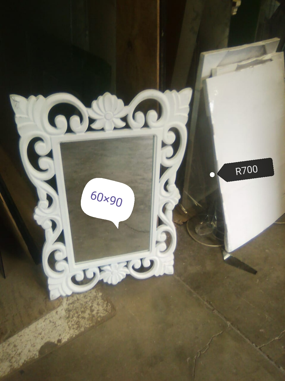 Carved Flora White Mirrors