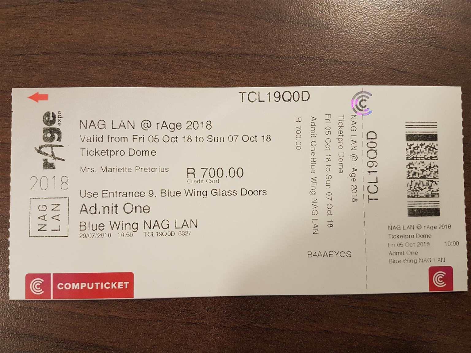 NAG LAN @ rAge ticket for sale  (R700)