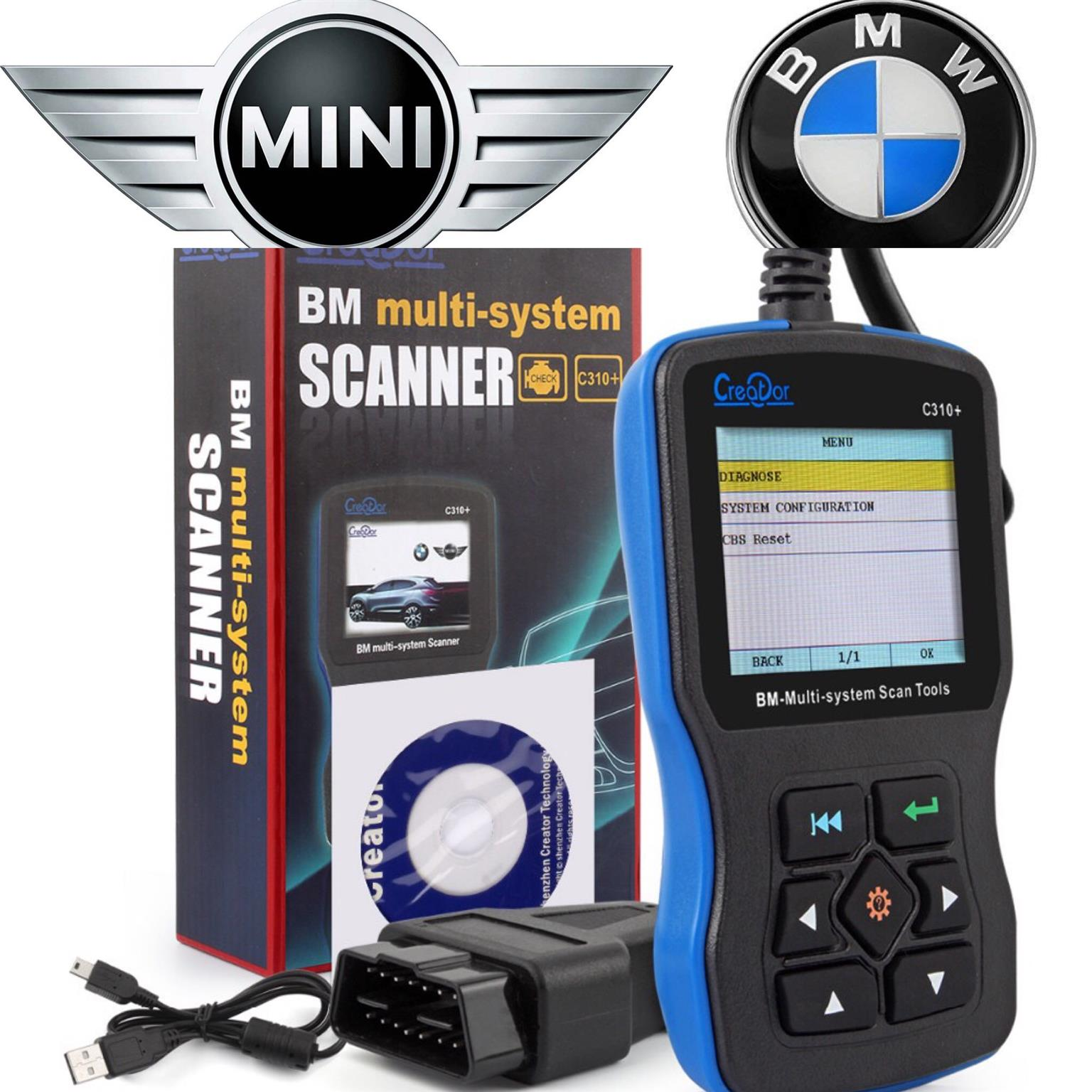 Creator C310+ Airbag/ABS/SRS Diagnostic Tool BMW and MINI Code Reader Engine Oil Reset