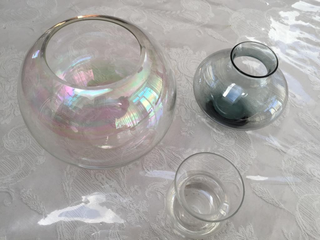 3 Small Glass decor containers - small bowl and 2 candle holders-price for all 3 items