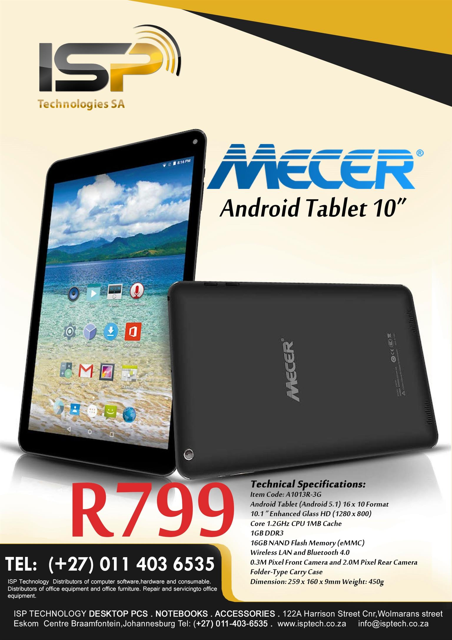 """Mecer 10"""" Dual Sim Tablet...10-units Available"""
