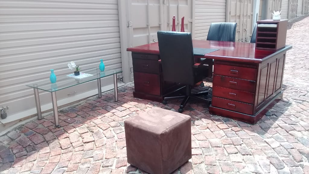 Executive desk with leather in lay with chairs