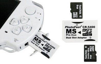 Psp Memory card Adapters   TAKES 2 SD CARDS