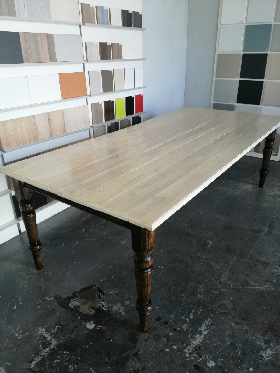 DINING ROOM OR LAPA TABLE-8 SEATER ASHWOOD LEGS AND WASHED PINE YOP