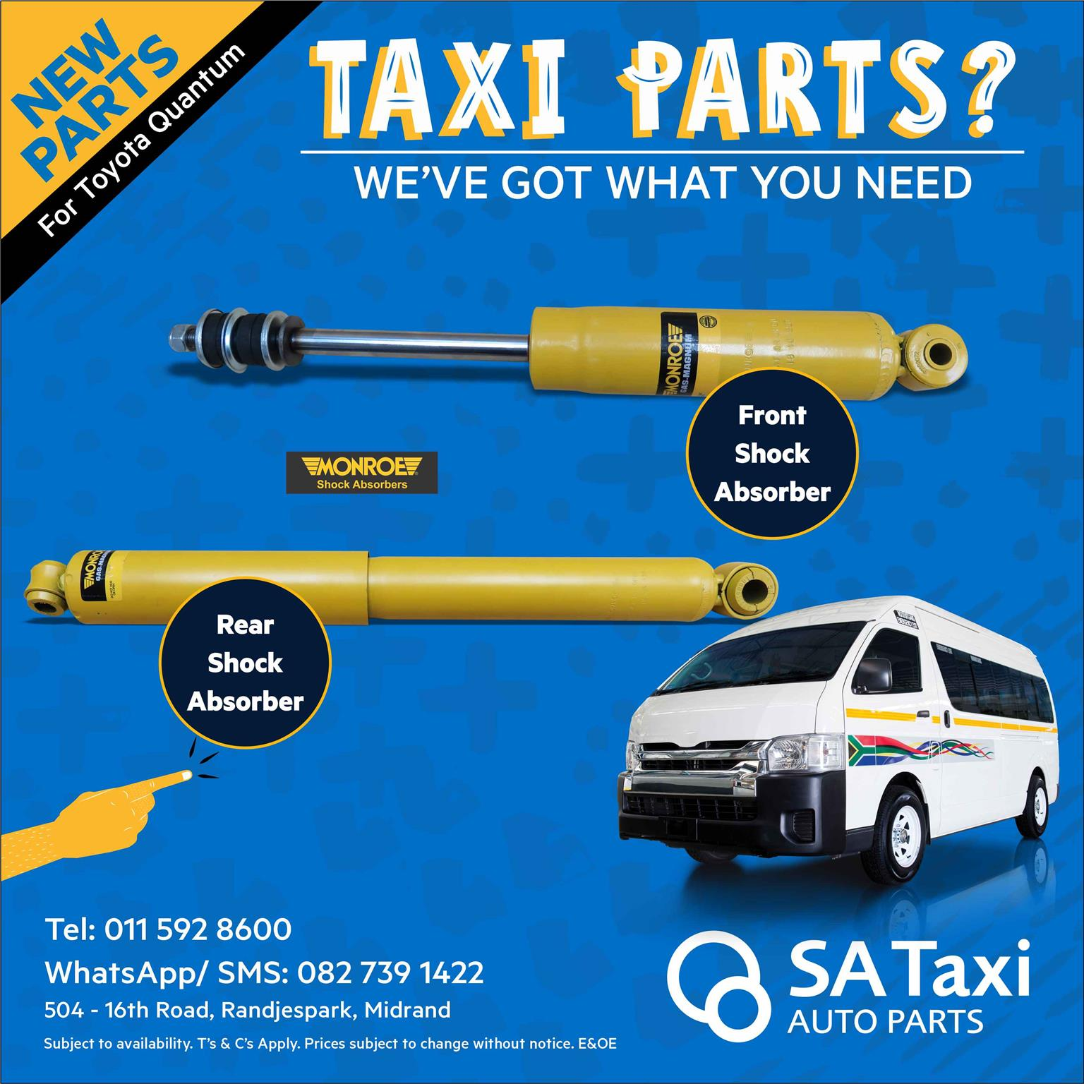 Front and Rear Shock Absorbers suitable for Toyota Quantum - SA Taxi Auto Parts quality spares