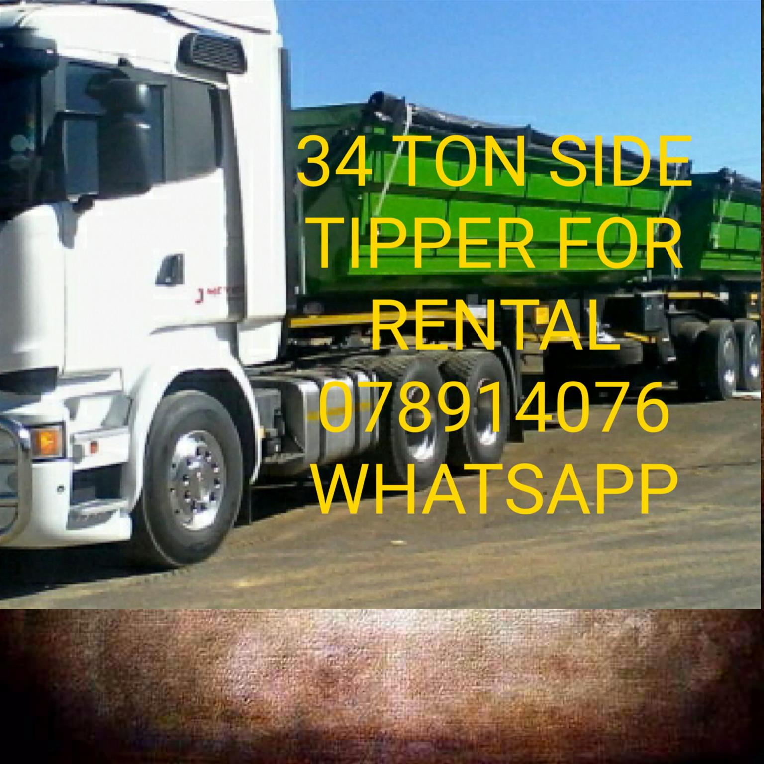 34 TON SIDE TIPPER FOR RENTALS