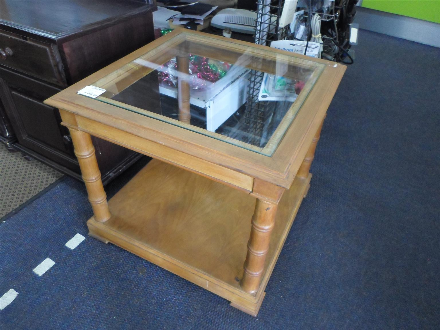 Wooden Glass Top Coffee Side Table