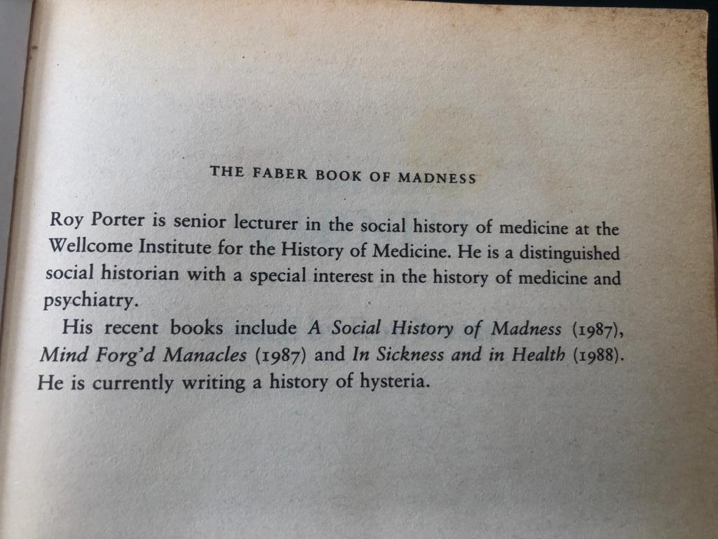 The Faber Book of Madness by Edited by Roy Porter